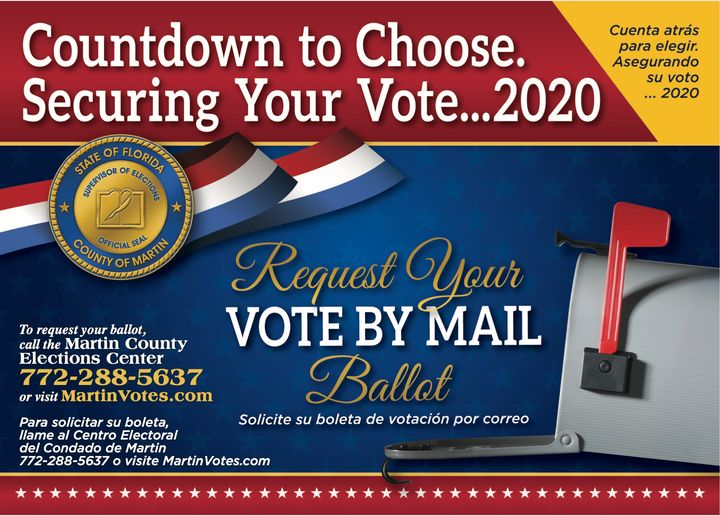 A flyer sent to registered voters in Martin County, Florida, informing them about how to request a mail ballot for the 2020 e