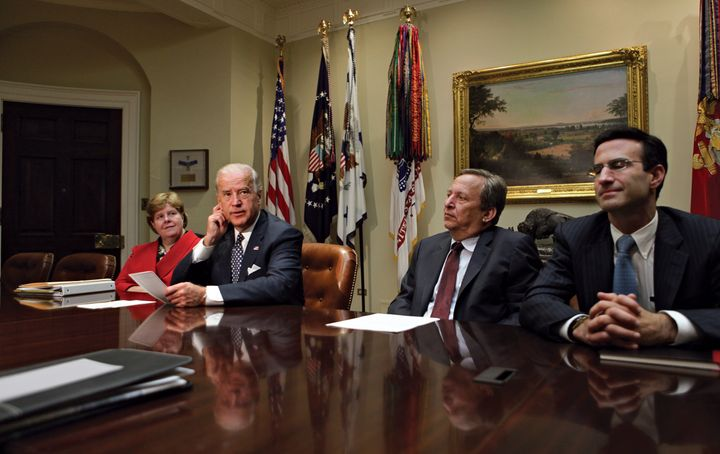 Then-Vice President Joe Biden sitting next to Larry Summers in a meeting at the White House on Oct. 2, 2009.