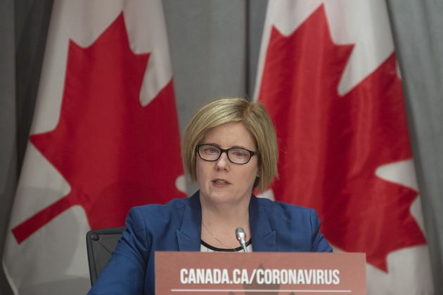 Employment Minister Carla Qualtrough speaks during a news conference in Ottawa on March 26,