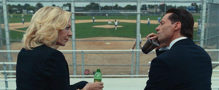"Allison Janney and Hugh Jackman in ""Bad Education."""