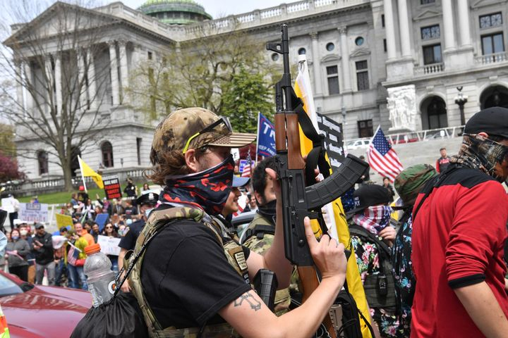 "People take part in a ""reopen"" Pennsylvania demonstration on April 20, 2020 in Harrisburg, Pennsylvania."
