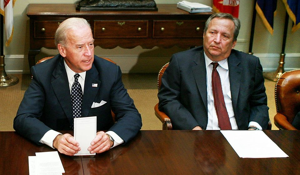 Then-Vice President Joseph Biden and then-Director of the National Economic Council Larry Summers, in...