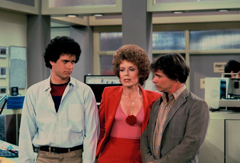 "Tom Hanks, Holland Taylor and Peter Scolari in the ""Bosom Buddies"" pilot."