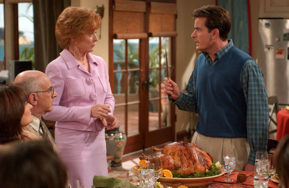 "Holland Taylor and Charlie Sheen in an episode of ""Two and a Half Men."""
