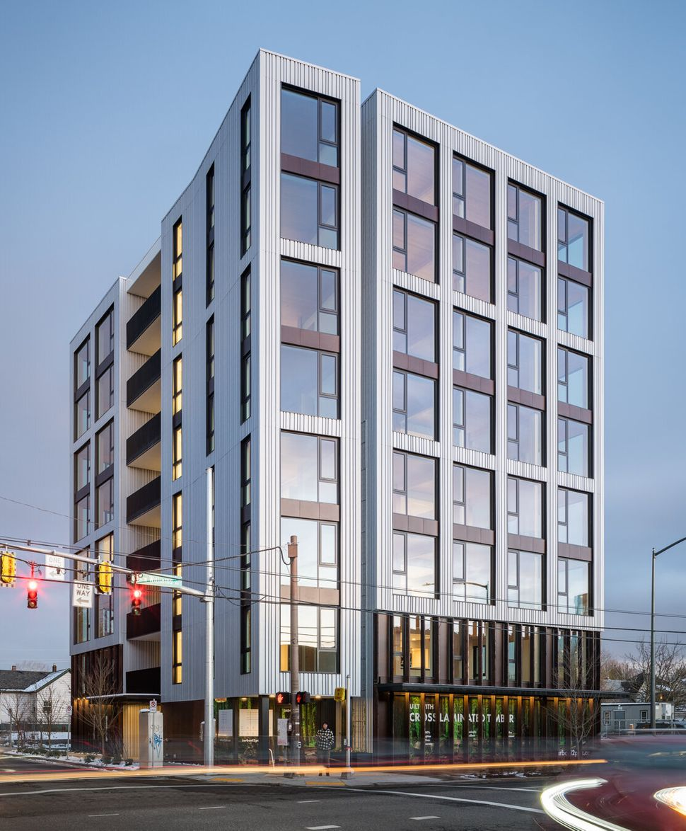 The tallest all-wood building in the U.S. is Carbon12, a condominium building in Portland, Oregon.