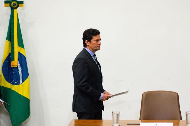 Ministro Sergio Moro em seu último pronunciamento como integrante do governo