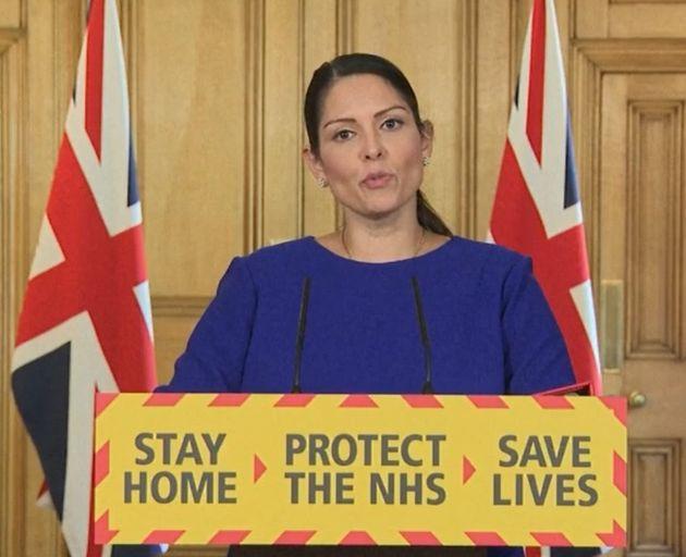 Screen grab of Home Secretary Priti Patel during a media briefing in Downing Street, London, on coronavirus...
