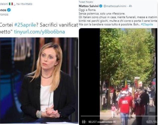 i tweet di Meloni e Salvini contro il raduno a