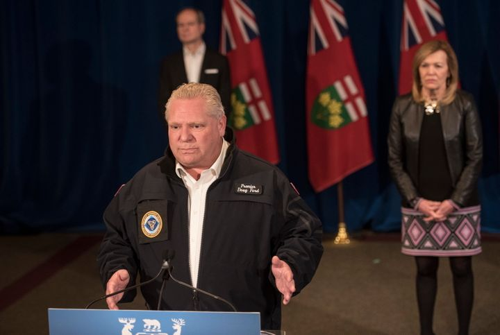 Ontario Premier Doug Ford responds to a question during his daily update regarding COVID-19 at Queen's Park in Toronto on Saturday.
