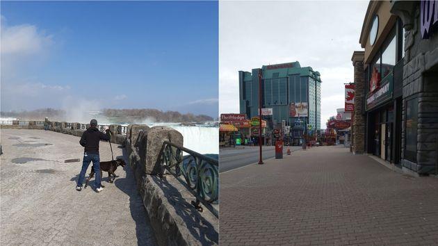 左=ナイアガラの滝の人気スポット、滝の水が落ちるテーブルロック(4月8日撮影)