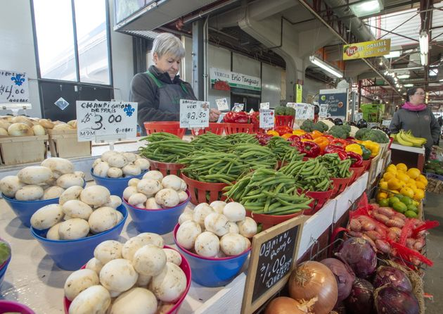 A vegetable stand is seen at the Jean Talon Market on Jan. 22, 2019 in