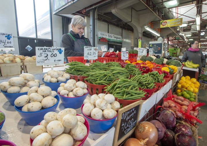 A vegetable stand is seen at the Jean Talon Market on Jan. 22, 2019 in Montreal.