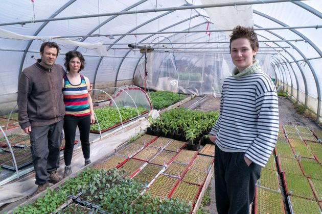 Farm owners Francois Daoust and Melina Plante, left, are seen in their greenhouse with summer employee...