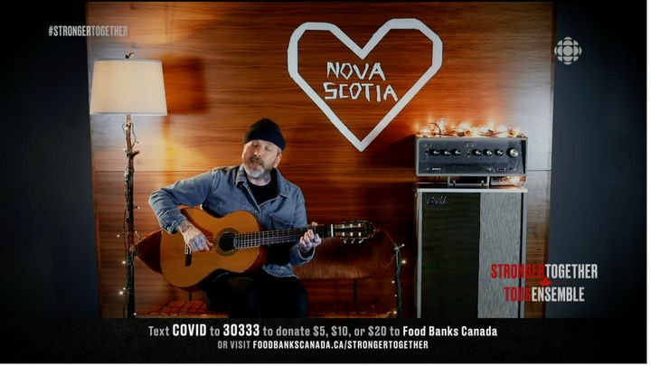 "Dallas Green of City and Colour performing ""We Found Each Other in the Dark"" with a tribute to Nova Scotia, during the ""Stronger Together"" fundraiser, Apr. 26, 2020."
