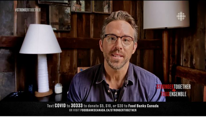 "Ryan Reynolds talks about Canada during the ""Stronger Together"" fundraiser, Apr. 26, 2020."