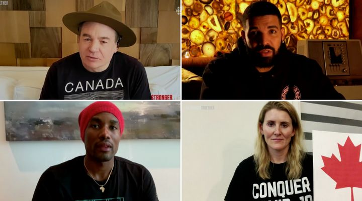 "Clockwise from top left: Mike Myers, Drake, Hayley Wickenheiser and Serge Ibaka at Sunday night's ""Stronger Together"" show, Apr. 26, 2020."