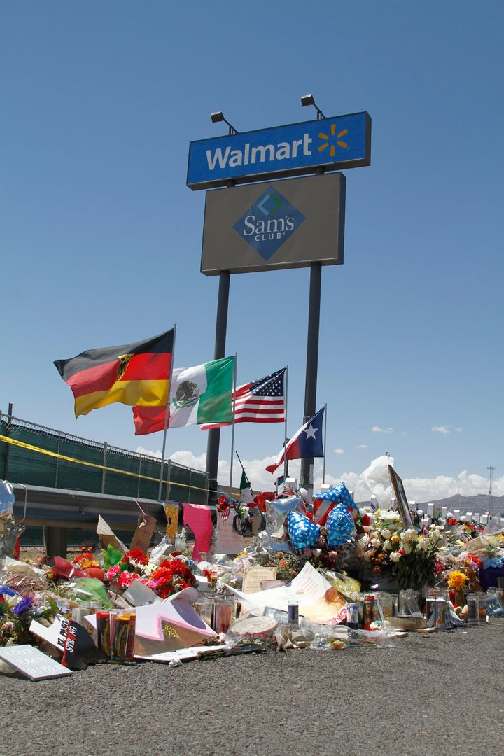This Aug. 12, 2019 file photo shows a makeshift memorial near the Walmart in El Paso, Texas, a mass shooting claimed 23 lives