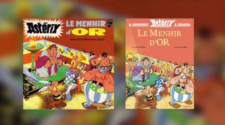 Le Menhir d'or: La couverture de la bande dessinée des nouvelles aventures d'Astérix le Gaulois (à droite) a été supervisée par Albert Uderzo avant son décès, et reprendra celle de l'histoire audio de 1967 (à gauche). (Capture d'écran Éditions Albert René)