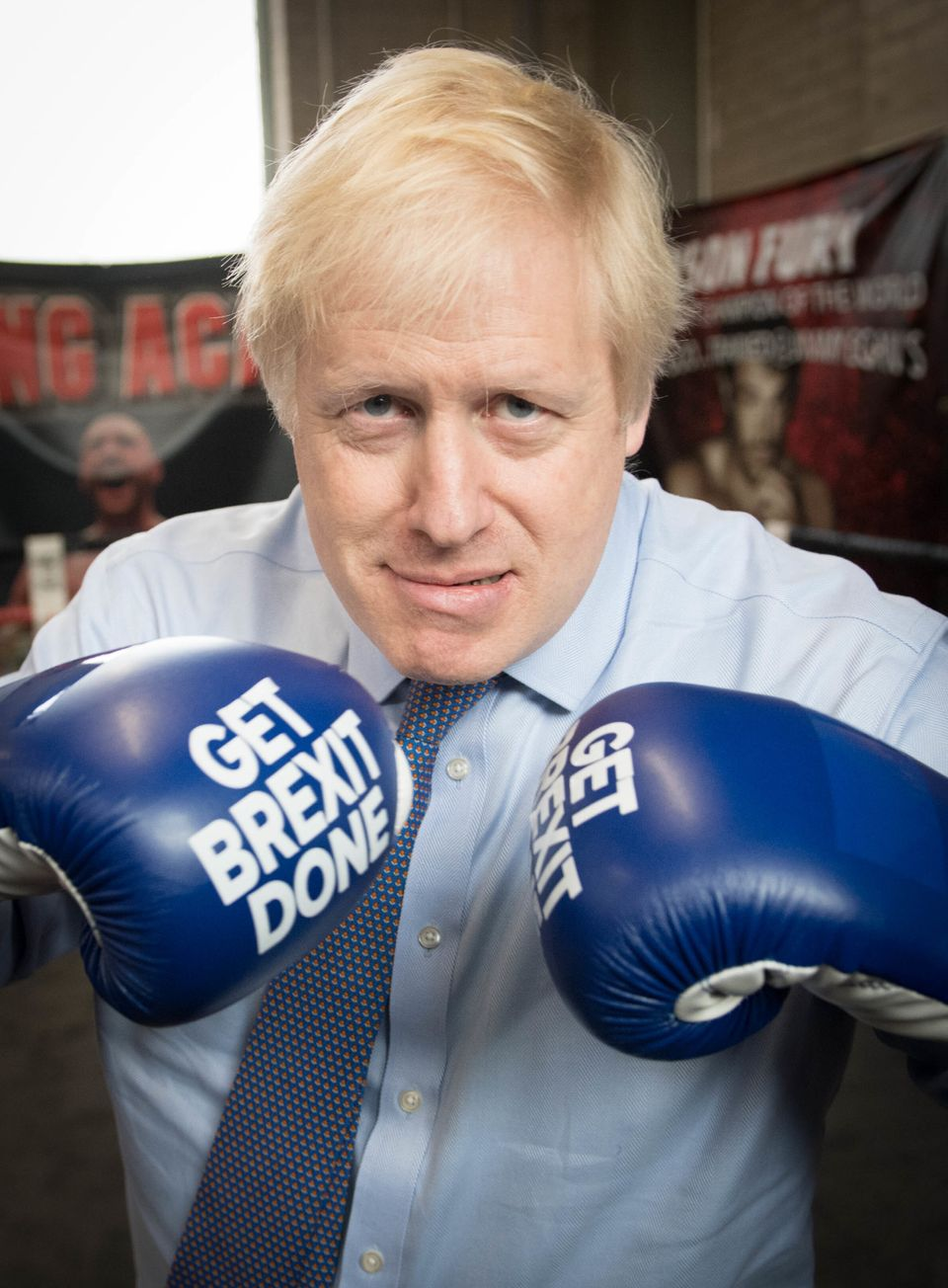 Prime Minister Boris Johnson during a visit to Jimmy Egan's Boxing Academy at Wythenshawe, while on the...