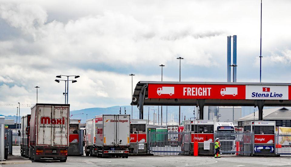Lorries go through freight checks at Dublin