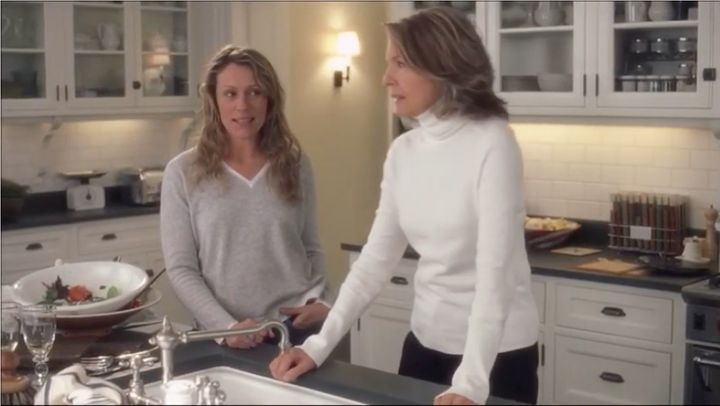 "Actors Diane Keaton and Frances McDormand in ""Something's Gotta Give."" Nancy Meyers said Sunday on Instagram that her real-life kitchen was the inspiration for the kitchen in this movie."