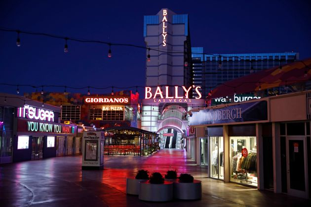 An outdoor mall at Bally's Las Vegas is empty of people along the Las Vegas Strip, during the coronavirus...