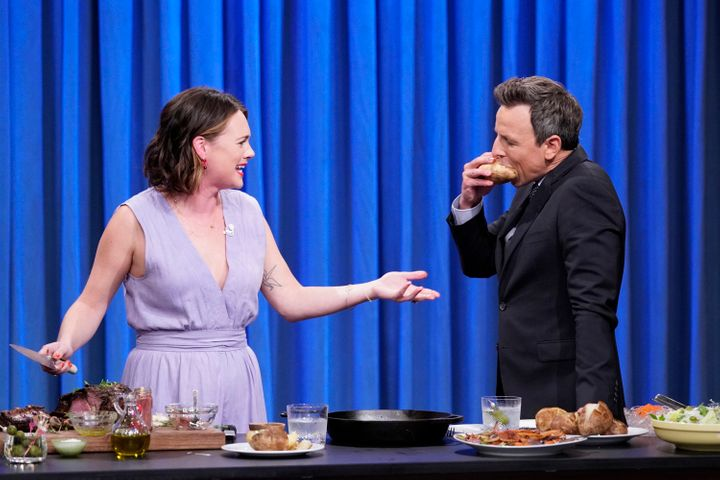 Alison Roman during a cooking segment with late night host Seth Meyers on Oct. 22, 2019.
