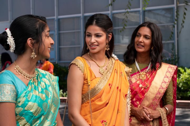 "Maitreyi Ramakrishnan, Richa Shukla and Poorna Jagannathan in ""Never Have I Ever."""
