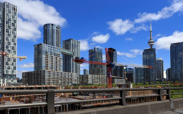 This undated file photo shows the CityPlace condo complex in downtown Toronto, with the CN Tower visible...