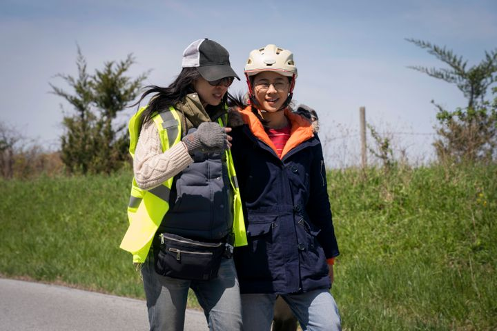 """Writer-director Alice Wu (left) with Leah Lewis on the set of """"The Half of It."""""""