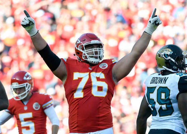Kansas City Chiefs offensive lineman Laurent Duvernay-Tardif celebrates after a field goal during an NFL football game in 2016.