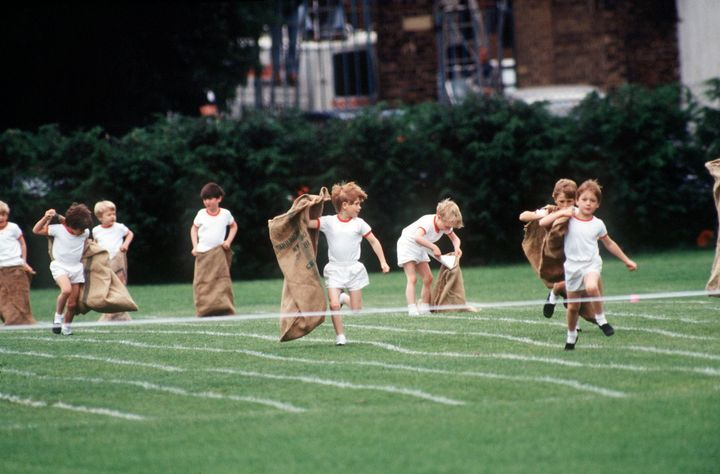 Prince Harry competed in a sack race during sports day in 1991.