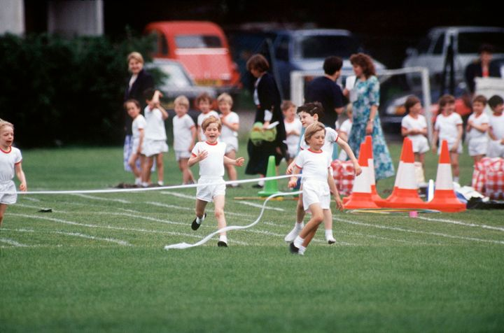 Prince Harry running on sports day in 1991.