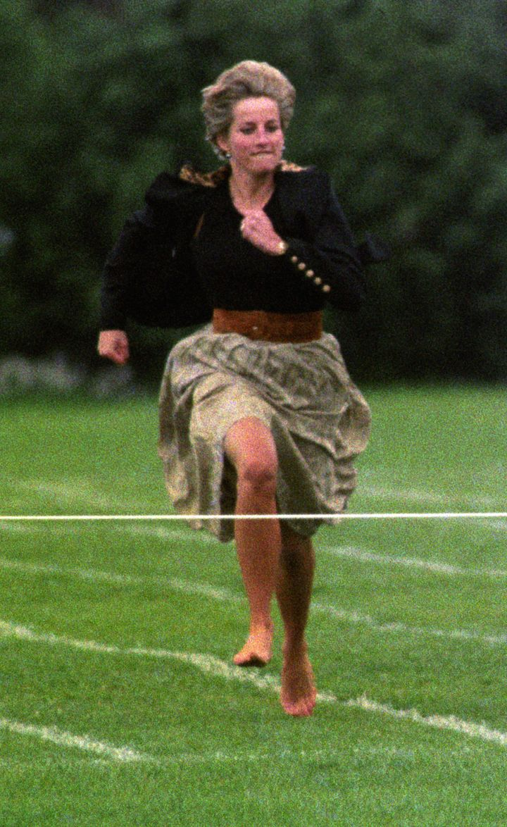 The Princess of Wales kicked off her shoes to participate in the race.