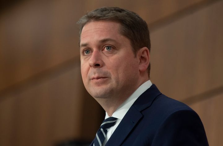 Conservative leader Andrew Scheer listens to a question during a news conference in Ottawa on April 27, 2020.