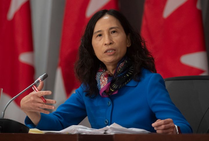 Chief Public Health Officer Theresa Tam responds to a question during a news conference in Ottawa on April 27, 2020.