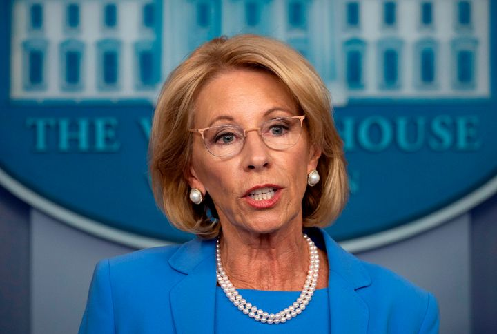 US Secretary of Education Betsy Devos speaks during the daily briefing on the novel coronavirus, COVID-19, in the Brady Brief