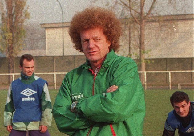 Robert Herbin, ici le 28 novembre 1991 lors de son premier session à l'ASSE en tant qu'entraîneur,...