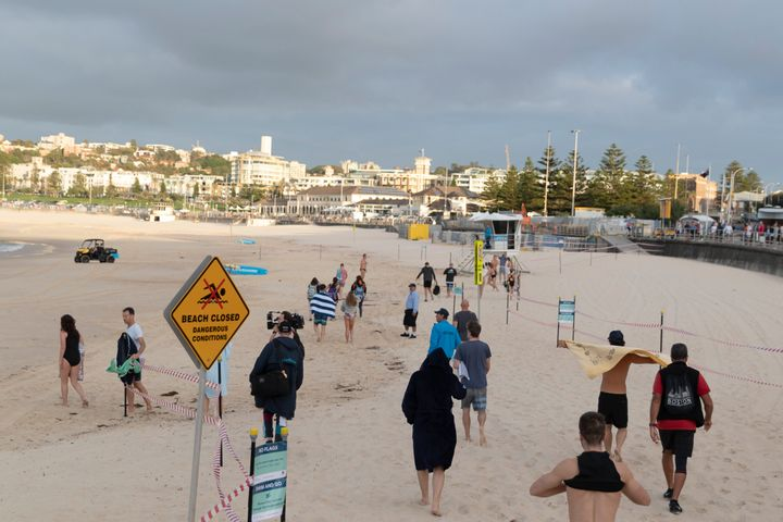 Swimmers return to Bondi beach on April 28, 2020 in Sydney, Australia. (Photo by Brook Mitchell/Getty Images)