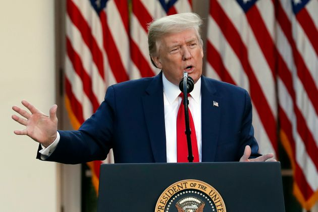 President Donald Trump speaks about the coronavirus in the Rose Garden of the White House, Monday, April...