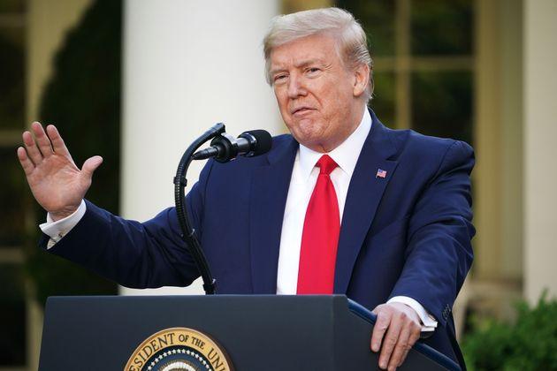 El presidente Donald Trump, en rueda de prensa el 27 de abril de