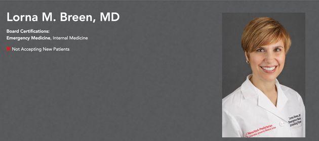 病院のウェブサイトに掲載されている、ローナ・ブリーン医師の写真と肩書き