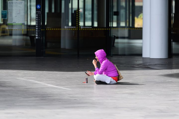 A homeless woman on March 26 in Christchurch, New Zealand.