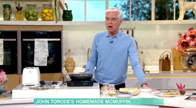 Phillip Schofield noticed John Torode's tea towel was on