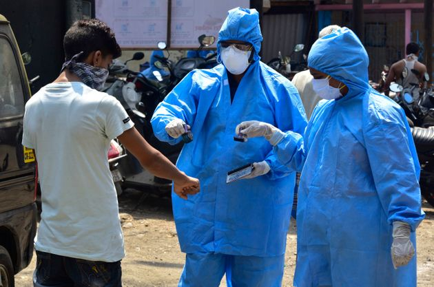 BMC doctors conducting COVID-19 test on April 17, 2020 in
