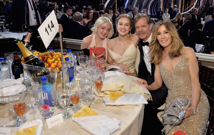 Sophia Macy, left, attended the 2019 Golden Globes with her family before the college admissions bribery scandal turned their