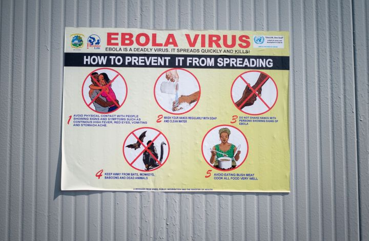A sign posted last September in Goma, Congo, offers tips on how to stem the spread of Ebola.