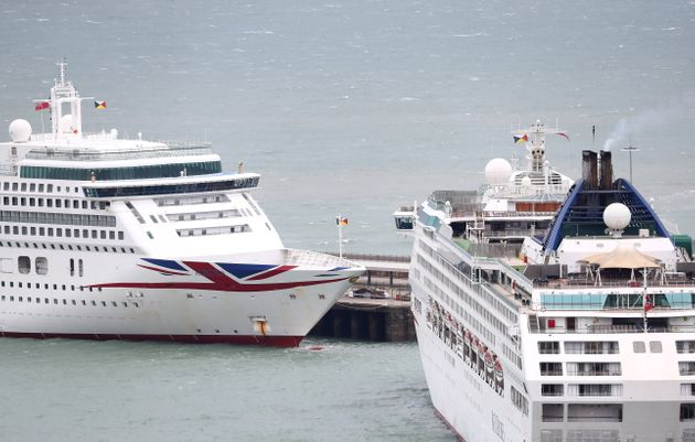 Two P&O cruise ships docked at the Port of Dover in Kent as P&O Cruises is suspending any new cruises...