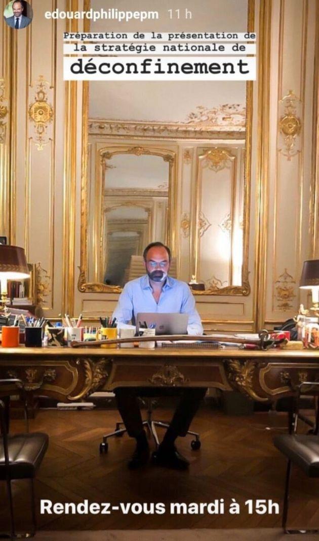 Edouard Philippe préparant son discours sur le plan de déconfinement, dans la nuit du lundi 27 au mardi...