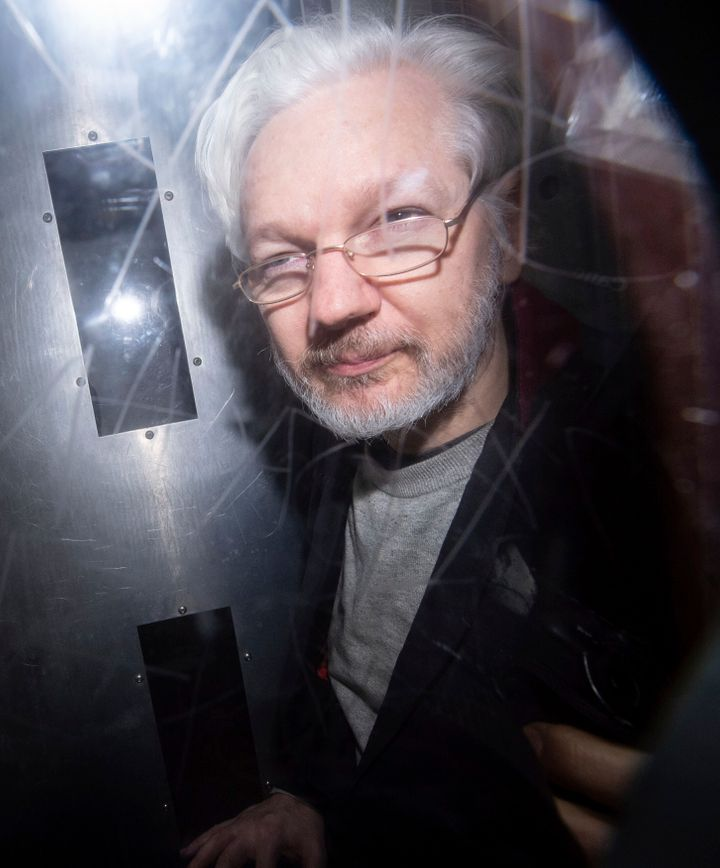 Wikileaks founder Julian Assange leaves in a prison van after appearing at Westminster Magistrates Court, for an administrati
